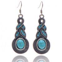 欧美复古蓝宝石耳环 绿松石葫芦耳坠 水晶时尚耳饰 厂家直销
