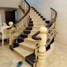 厂家铝艺楼梯扶手 欧式铜镀金立柱 旋转楼梯护栏直销