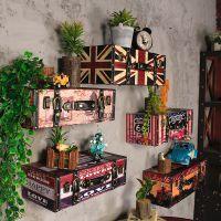 皮箱美式行李箱网吧墙面装饰品复古美陈置物架酒吧咖啡厅壁饰挂件