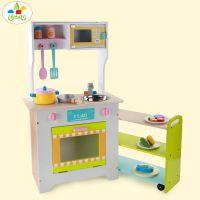 幼乐比厂家木制厨房灶台厨房玩具 儿童过家家仿真餐厨具组合批发