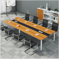 南昌大型商务简约办公会议桌油漆实木贴皮长条会议台会议室洽谈桌椅组