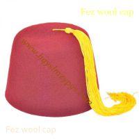 中东米色流苏酒红色羊毛帽the Middle East Beige Tassels wool Cap
