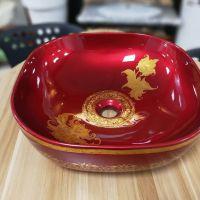 方形陶瓷红色亮光无孔新款熔盛艺术盆