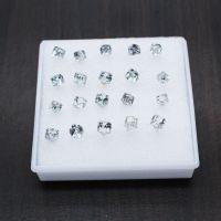 水立方方块水晶耳钉 高档韩版耳环  女生小饰品地摊盒装耳钉批发