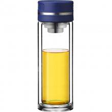 清水SM-8271双层玻璃杯带滤网耐热透明水晶随手杯商务办公茶杯