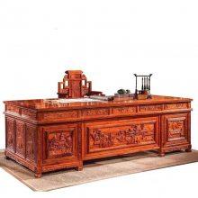 红木台桌类办公家具 刺猬紫檀2.6米办公桌配椅一套多少钱