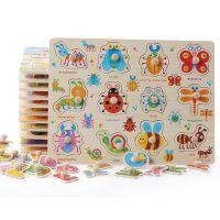 儿童木制益智数字字母动物交通拼图拼板玩具 启蒙早教手抓板