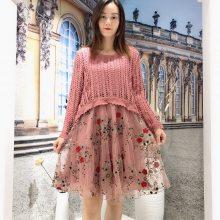 蕾丝刺绣设计师原创 朵拉薇拉新款连衣裙批发 品牌折扣女装尾货货源供应商