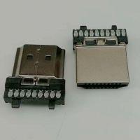 HDMI 焊线式公头/19P-A型/180度焊线式/配线夹/镀金/镀镍/HDMI高清接口/黑胶