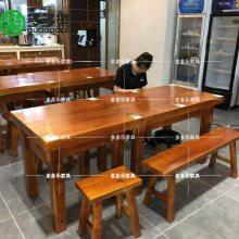 木屋烧烤实木大板餐桌 深圳木屋烧烤餐桌 夜宵烧烤店生蚝实木餐桌椅
