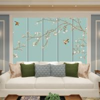 美式软包背景墙简约欧式客厅卧室床头电视墙壁画图案中式硬包花鸟