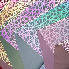 闪光布料 涤纶闪光反光创意印花复合针织布 创意开发高档箱包面料
