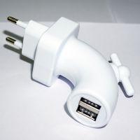 水龙头造型双USB接口直充 欧规手机充电器头 白色创意充电器