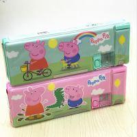 新款创意粉红小猪笔盒 双面磁扣文具盒 幼儿 小学生学习文具用品