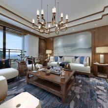 重庆景粼玖序162平米户型设计方案,渝北大平层装修,新中式风格效果图