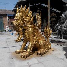 厂家销售玻璃钢仿铜麒麟动物麒麟雕塑定做大型麒麟玻璃钢树脂仿铜麒麟雕塑机关单位门口摆件