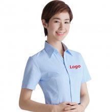 夏新款白色短袖衬衫定做 韩版女士职业装批发厂家 公务员营业员女式正装衬衣logo定制