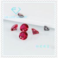圆形 5#红刚玉 人造合成红宝石 鸽血红 戒面项链首饰配石1.0-20mm