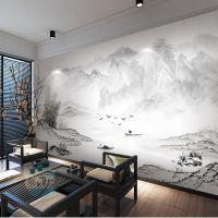 3d抽象水墨山水风景写意墙纸新中式电视背景壁纸客厅沙发壁画墙布