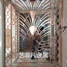 成都中式铝板浮雕红古铜屏风铝铜雕花立体花格隔断