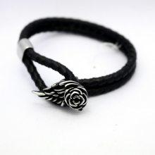欧美外贸男士双层编织麻花手链 韩国爆款皮绳手镯 玫瑰花羽毛手绳