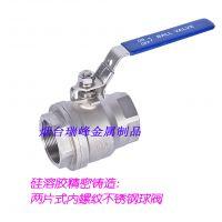 硅溶胶精密铸造不锈钢304/316 两片式内螺纹带锁通径球阀