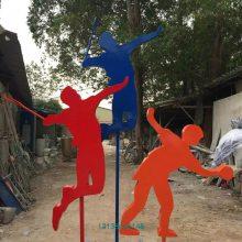金属铁艺剪影运动人物 城市公园玻璃钢抽象体育运动员 市政道路绿化带景观不锈钢雕塑打羽毛球