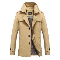 外贸春装新款纯棉男式休闲夹克韩版时尚男士中长款修身风衣外套