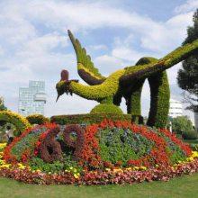 成都仿真牢记使命中国梦主题雕塑造型 假植物人物绿雕