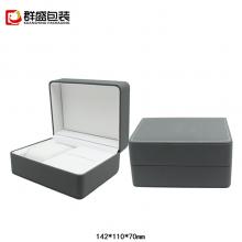 包装厂精品PU皮翻盖手表盒定制包装盒烫银印LOGO***手表首饰盒子