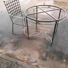 欧式五金焊接圆形桌套装欧式室内室外家居定制圆桌不锈钢创意圆桌咖啡厅阳台茶点桌椅组合