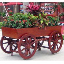 实木移动花车批发 特价花箱 超市商场室外装饰花箱户外花栏