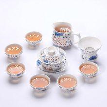 玲珑功夫茶具茶杯套装家用镂空陶瓷泡茶盖碗整套 简约家用泡茶