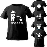 恶搞安卓机器人手机店工作服纯棉印花男装短袖t恤