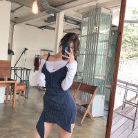 山水雨稞金兆城折扣女装货源折扣女装 品牌尾货批发网藏蓝色连衣裙
