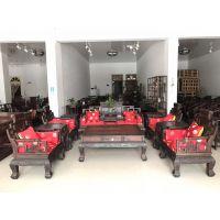 新款红木家具大红酸枝交趾黄檀弯背卷书十一件套客厅沙发厂家直销仙作工艺.