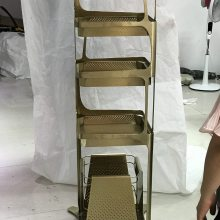 古铜色不锈钢书柜/高端电镀不锈钢置物架厂家