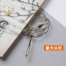 电镀黄铜书签定制 创意中国风金属镂空团扇书签 年年有鱼扇子书签 古典风金属书夹厂家直销 金属工艺品礼