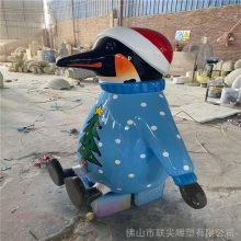 玻璃钢动物雕塑 园林景观玻璃纤维雕塑 玻璃钢卡通企鹅雕塑定制厂家 联尖雕塑
