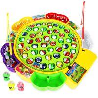儿童电动钓鱼玩具 旋转钓鱼盘套装 小孩儿童益智亲子互动玩具