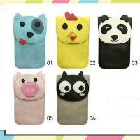 韩版 猫咪 熊猫 小粉猪可爱动物刺绣图案PU皮触屏手机包 斜挎小包