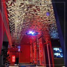 天津酒吧天花装修用镜面水波纹不锈钢压花板 KTV墙面大水波纹板