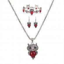 欧美绿松石耳环项链套装 复古大眼猫头鹰手链首饰三件套 CMT070