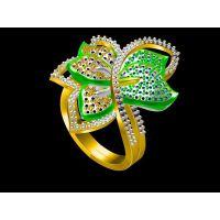 白铜镶嵌黄水晶戒指加工 陶瓷戒指 男 —菩提首饰生产厂家