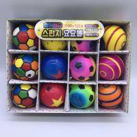 韩版海绵球弹性带绳儿童足球玩具球卡通动物彩虹色pu球手弹球皮球