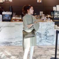 2018秋冬季新款 韩版中长款宽松套头慵懒针织毛衣连衣裙女潮