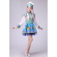 新款蒙古舞蹈裙蒙族服装成人舞蹈演出服女民族服装蓝蒙族开场舞裙