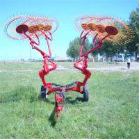 三点悬挂牧草地膜搂集机 多盘牵引式搂草机 大型牧场捡拾搂草机