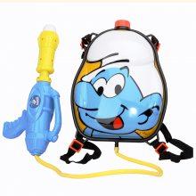 儿童背包水枪玩具 蓝精灵抽拉式大容量男孩宝宝滋水枪抢小孩喷呲水戏水枪