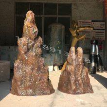 玻璃钢仿真石头制作假山流水喷泉厂家园林景观石